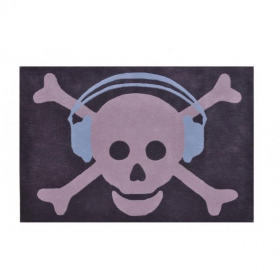 Lorena Canals Dywan Czaszka Big Skull Headphones Blue 140x200cm