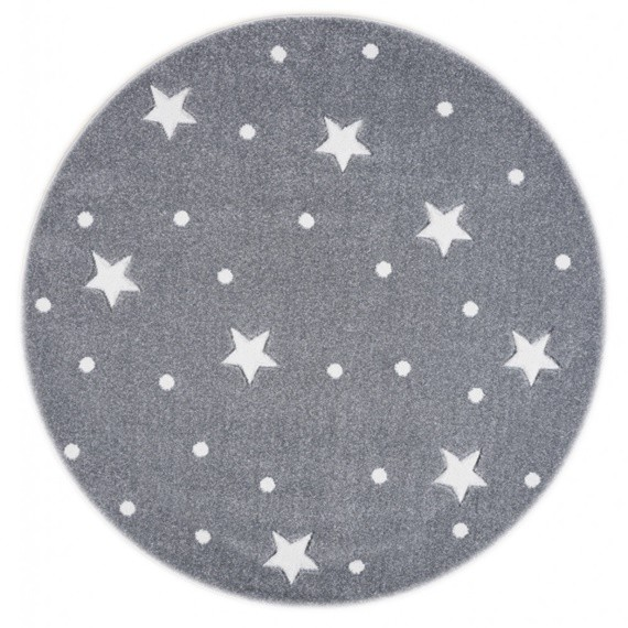 Happy Rugs Dywan okrągły Galaxy Grey White -  133cm